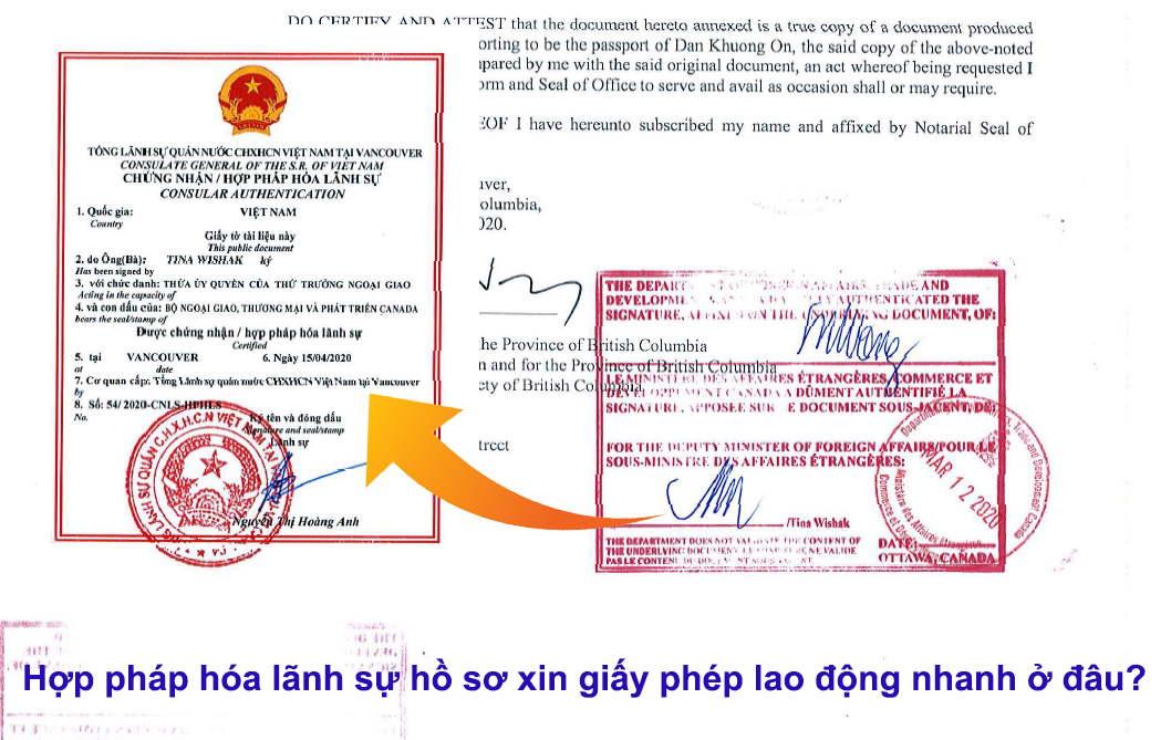 hợp pháp hóa lãnh sự hồ sơ xin giấy phép lao động